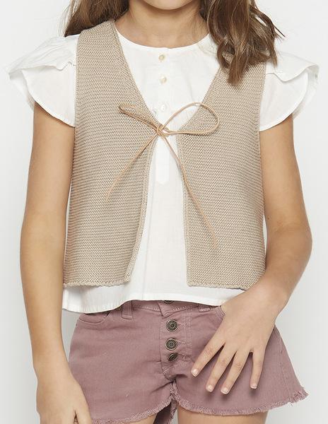 Beige bow waistcoat