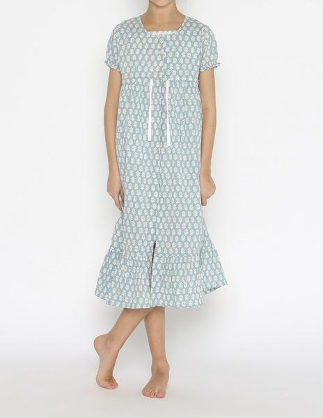 Turquoise buti print robe
