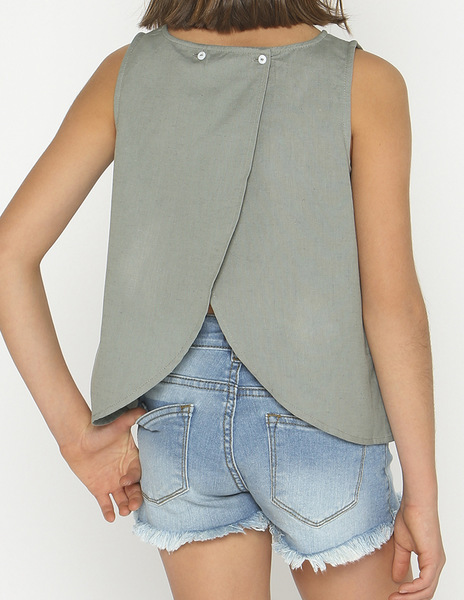 Green crossover blouse