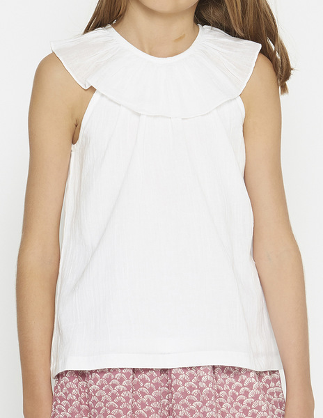 White ruffle neck top