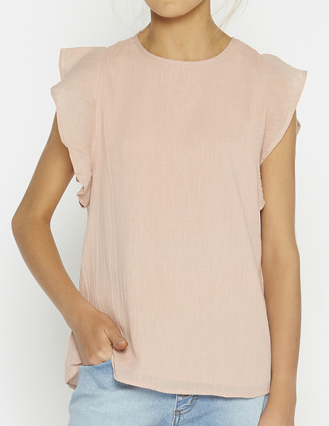 Pink ruffle sleeve top
