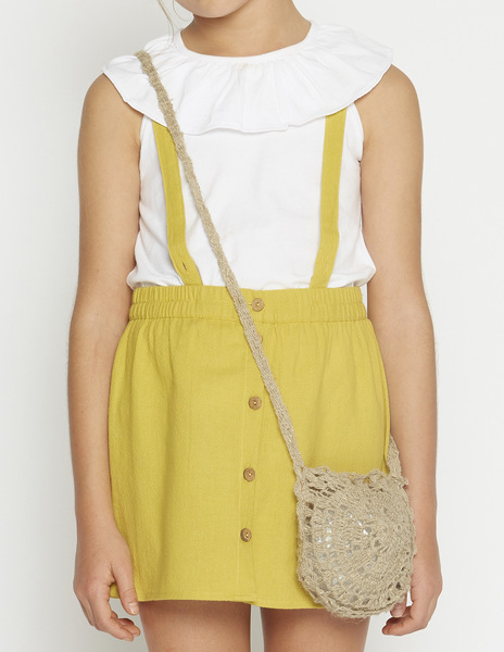 Mustard skirt with straps