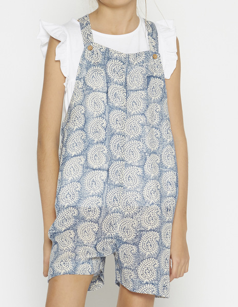 Blue paisley short dungarees