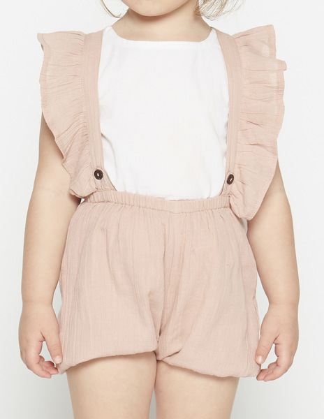 Pink ruffle bloomers with straps