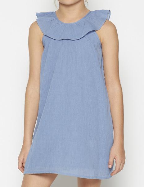 Blue ruffle neck dress