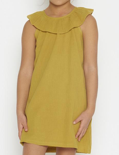Mustard ruffle neck dress