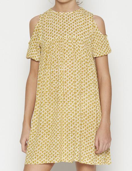 Mustard print cold shoulder dress