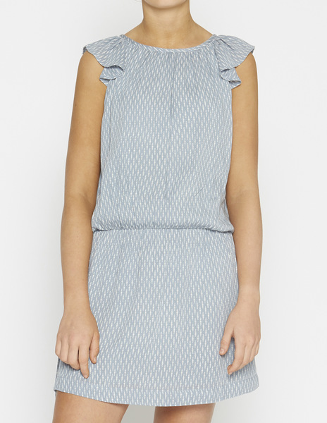 Ruffle sleeve drop waist bobble dress