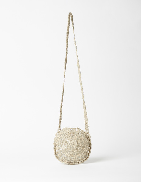 Flower raffia shoulder bag