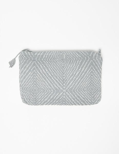 Grey polka dot make-up bag