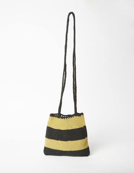 Mustard black stripe shoulder bag
