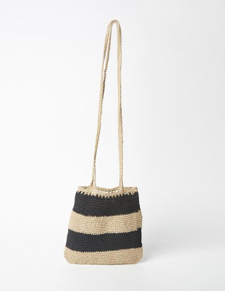 Black stripe raffia shoulder bag