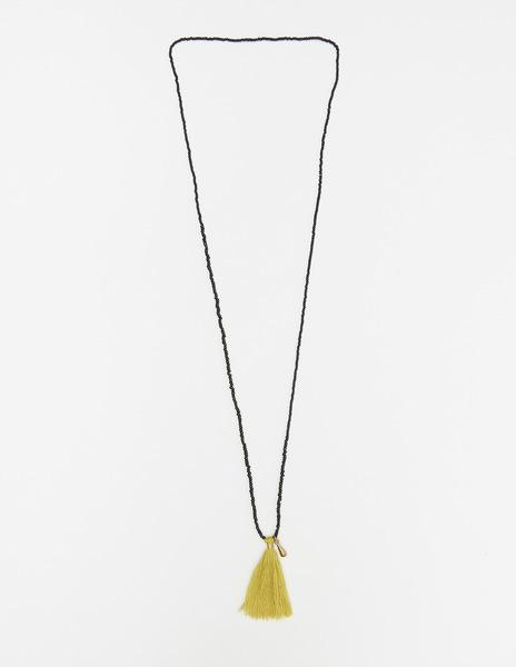 Long mustard pompom necklace