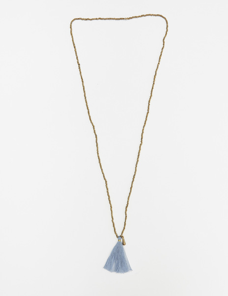 Long blue pompom necklace
