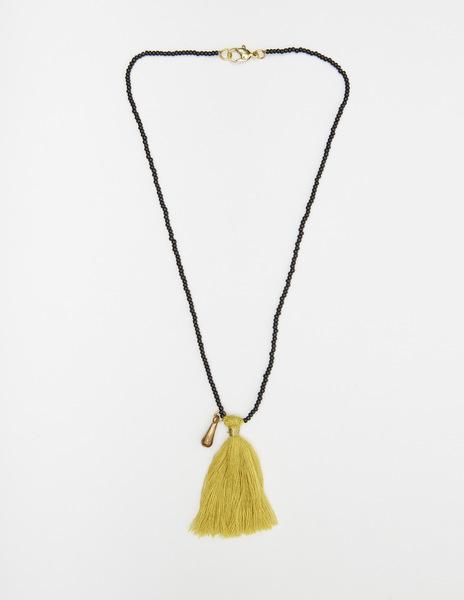 Short mustard pompom necklace