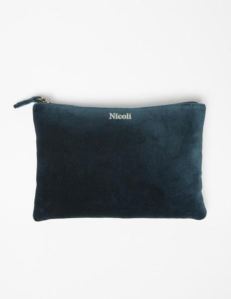 Blue velvet make-up bag