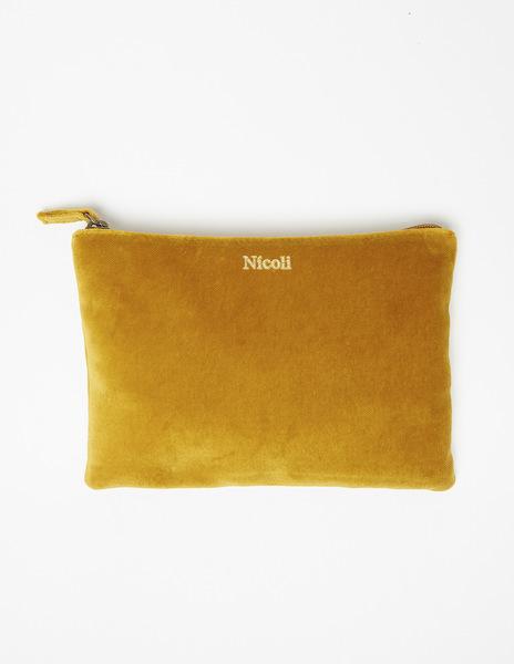 Mustard velvet make-up bag