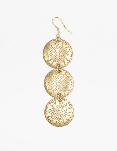 Three circle earrings