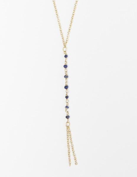 Chain blue bead necklace