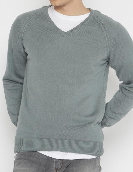 Green v-neck sweater