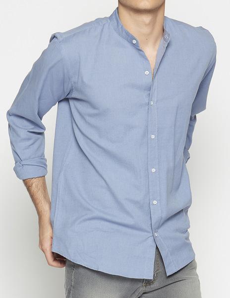 Indigo mao collar shirt