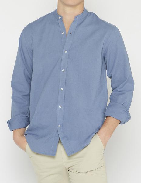 Distressed blue linen mao collar shirt