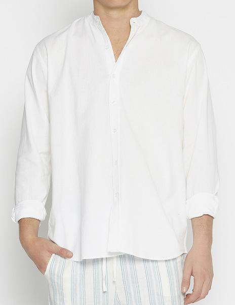 White linen mao coollar shirt