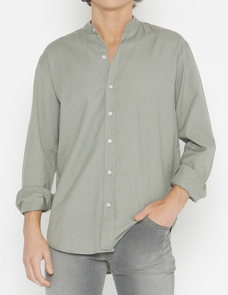Green linen mao collar shirt