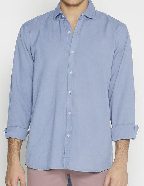Indigo linen v-neck shirt