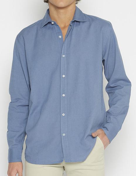 Distressed blue linen v-neck shirt