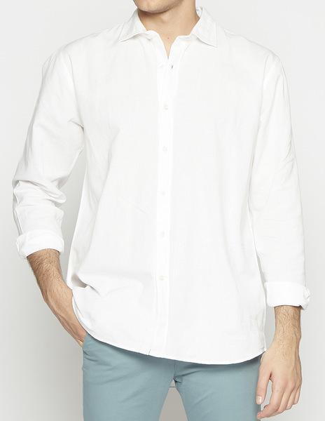 White linen v-neck shirt