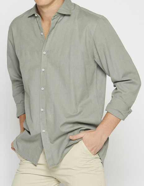 Green linen v-neck shirt