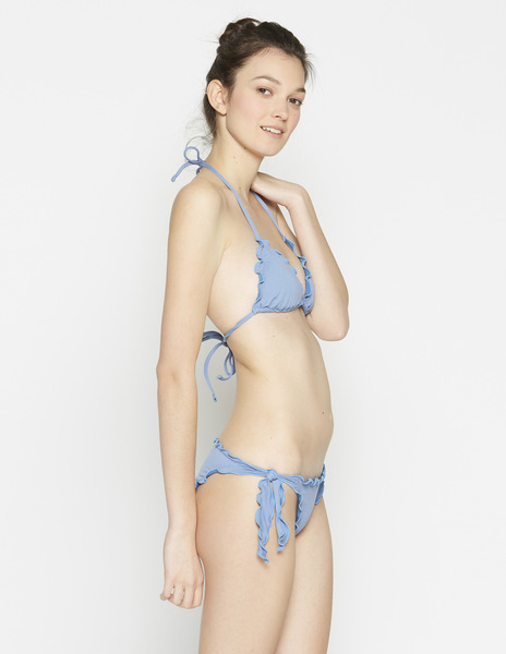 Light blue ruffle bikini top