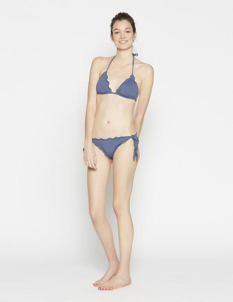 Dark blue ruffle bikini top
