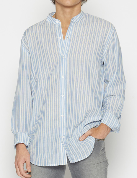 Anthracite blue striped mao collar shirt