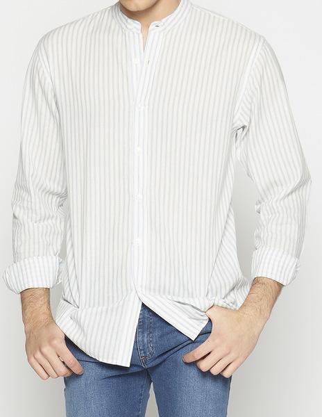 Ecru blue striped may collar shirt