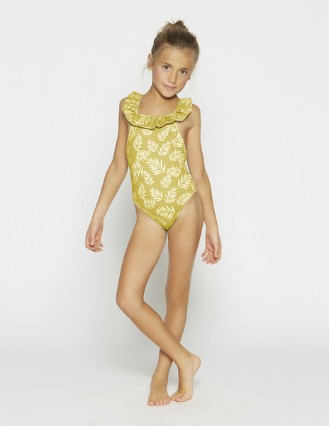 Girls' mustard tropical swimsuit