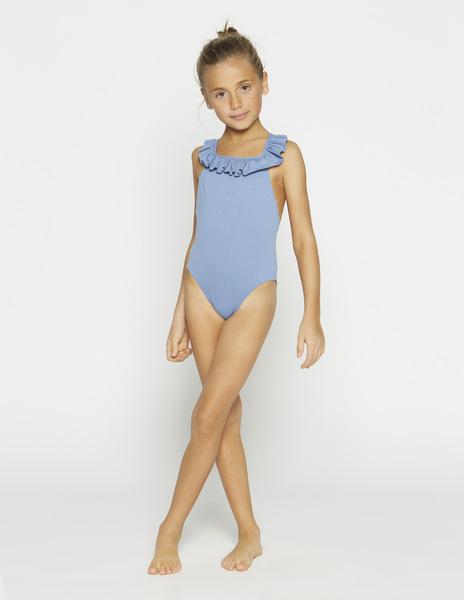 Girls' light blue frilled swimsuit