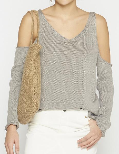 Grey cold sholder v-neck sweater