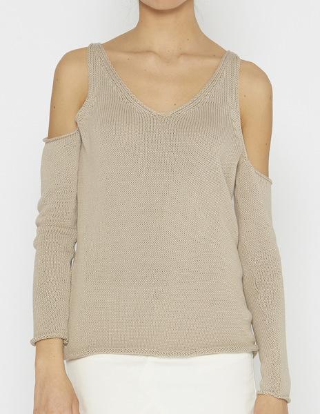 Beige cold shoulder v-neck sweater