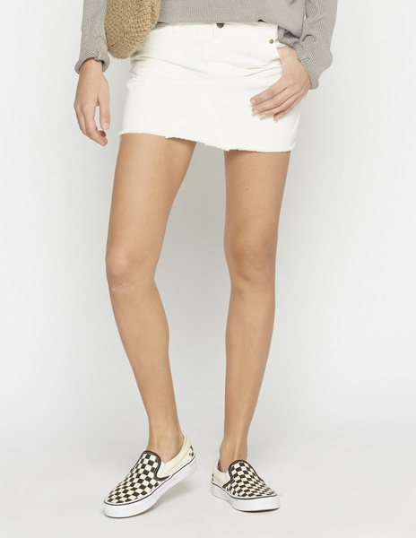 White frayed mini-skirt