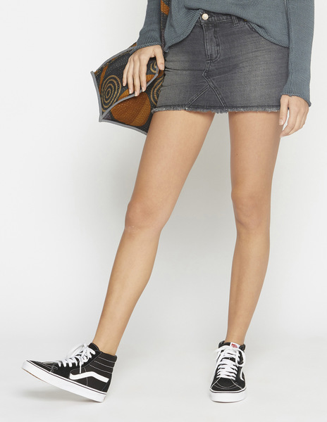 Grey frayed mini-skirt