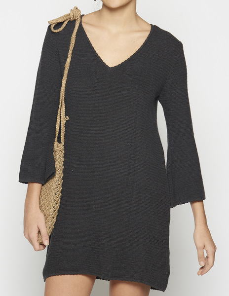 Anthracite v-neck dress