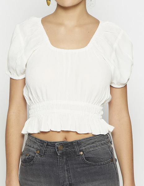 White rouched crop top