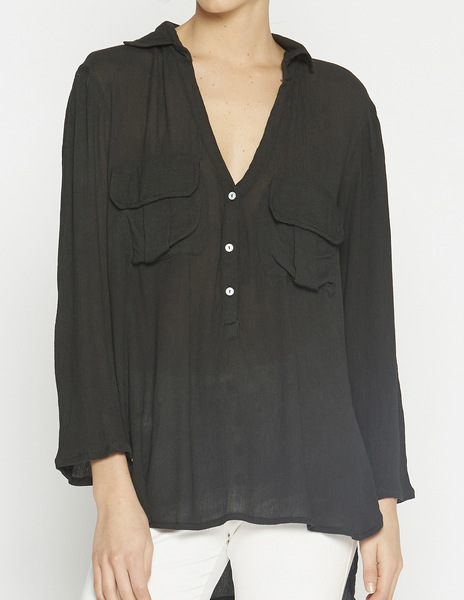 Black flap top with pockets