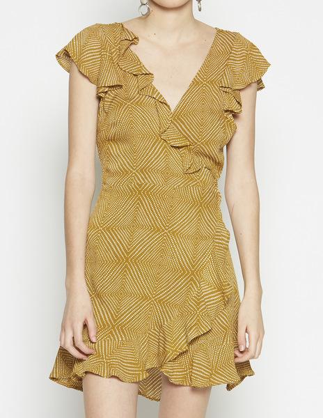 Mustard polka dot crossover dress
