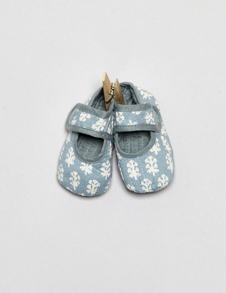 Turquoise buti print baby shoes