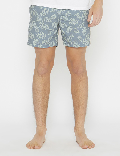 Turquoise tropical print swimming trunks