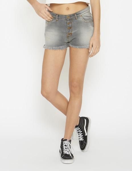 Grey frayed denim mom shorts