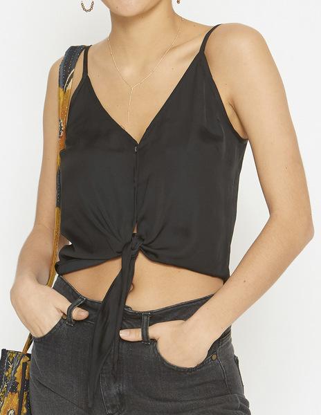 Black button strappy top